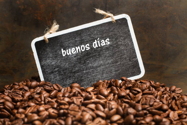 Grains of coffee with a