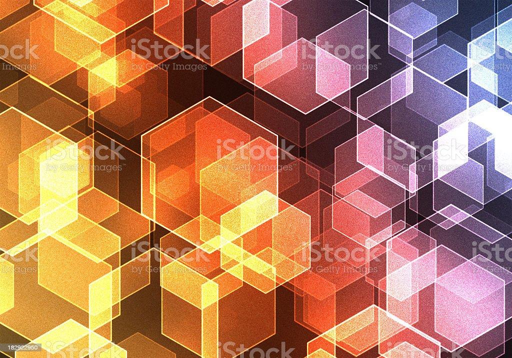 grainy retro hexagonal lights background illustration royalty-free stock photo
