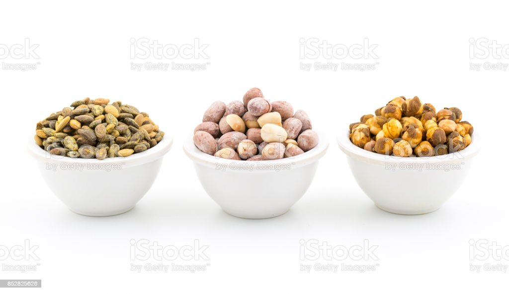 Gram, water melon seed and peanuts stock photo