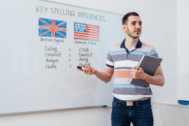 Grammar rules in english. Learning foreign language. School, lesson, class. stock photo