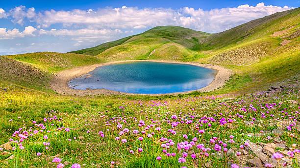 Grammos mountain. Alpine Gistova Lake (2350m) stock photo