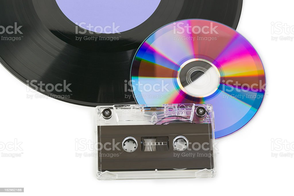 Gramophone disk, cd and cassette stock photo