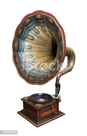An old gramophone ornate with color pattern.