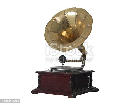 isolated gramophone on white background