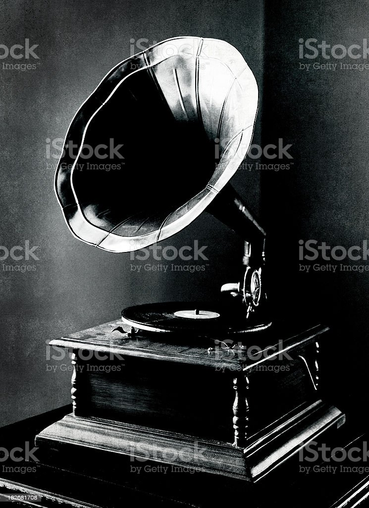 Gramophone Stylized with Grunge Texture stock photo