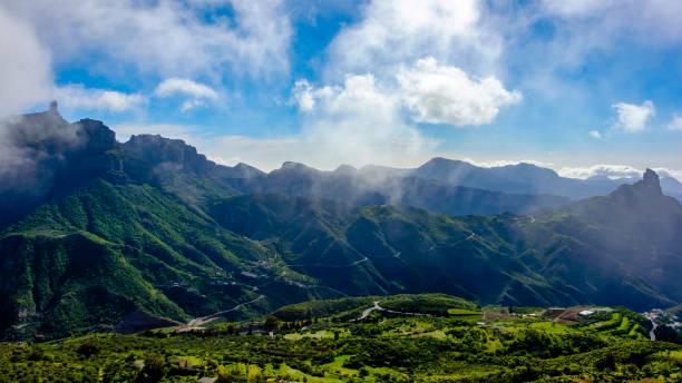 Gran Canaria, Canary Islands - mountain landscape with Roque Bentayga & Roque Nublo stock photo