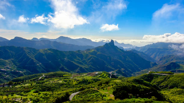 Gran Canaria, Canary Islands - mountain landscape with Roque Bentayga stock photo