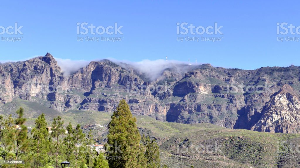 Gran canaria - valley in the mountains with clouds stock photo