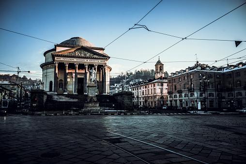 Gran Madre Di Dio Church And Vittorio Emanuele I Statue In Turin, Italy