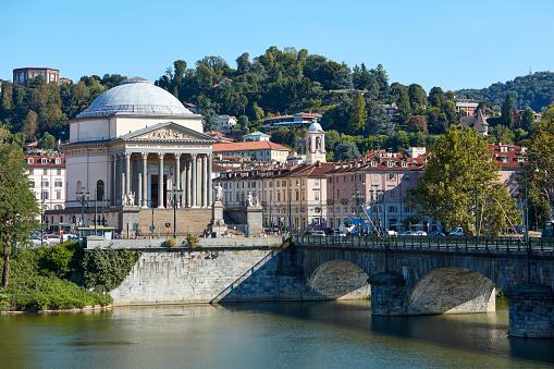 Gran Madre di Dio church in Turin and Po river in a sunny summer day in Italy