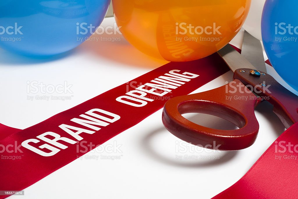 Gran apertura y globos cinta - foto de stock