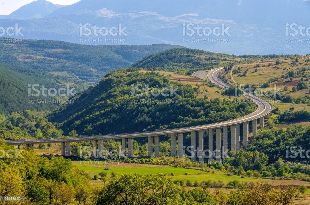 Gran Sasso freeway in Abruzzo, Italy stock photo