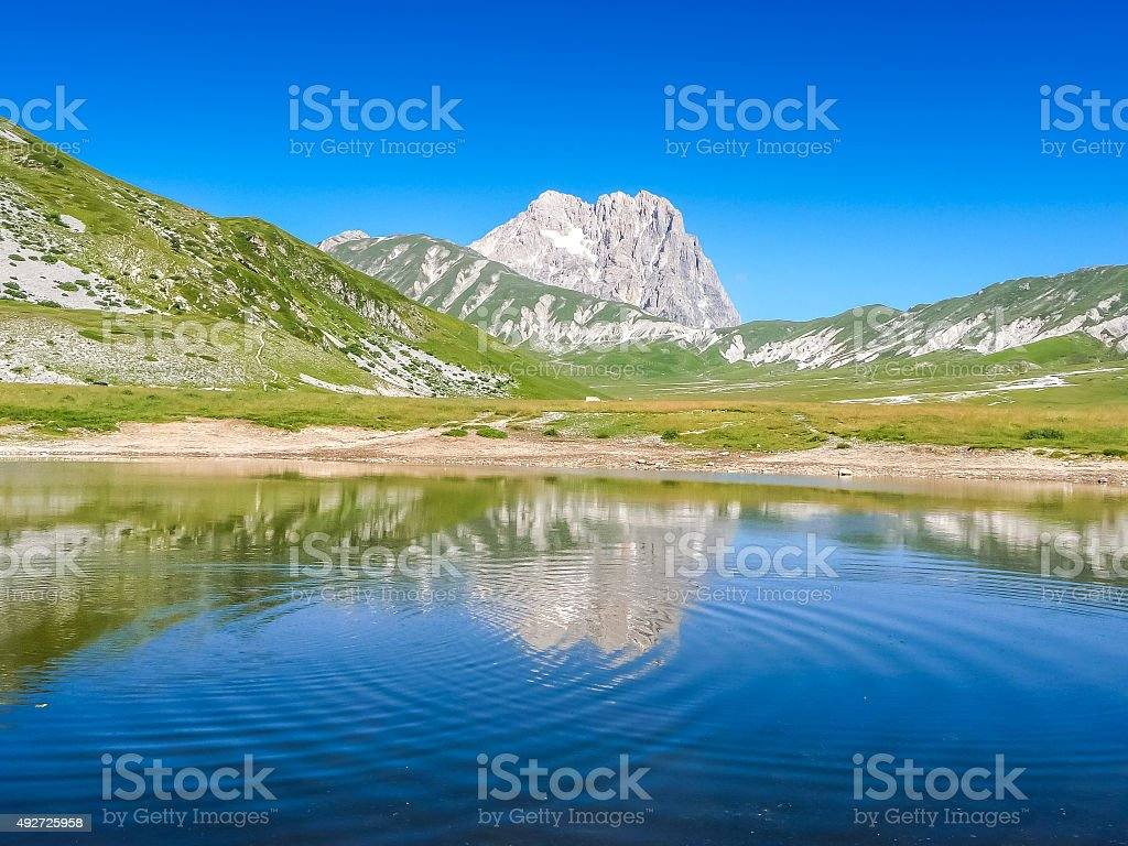Gran Sasso mountain summit at Campo Imperatore plateau, Abruzzo, Italy stock photo
