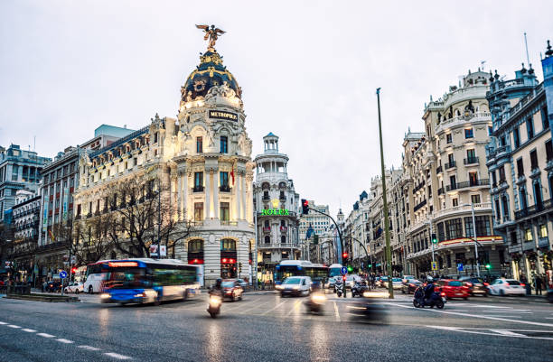 gran via in Madrid at sunset with clouds. Spain stock photo