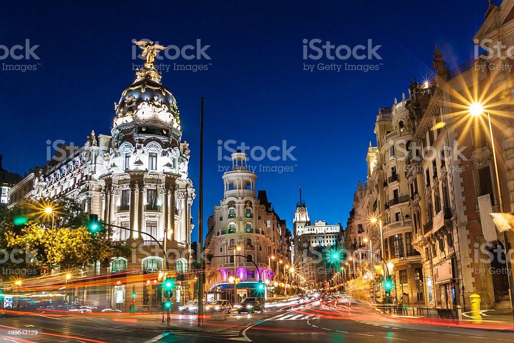 Gran Vía in Madrid, Spanien, in Europa. - Lizenzfrei Abenddämmerung Stock-Foto