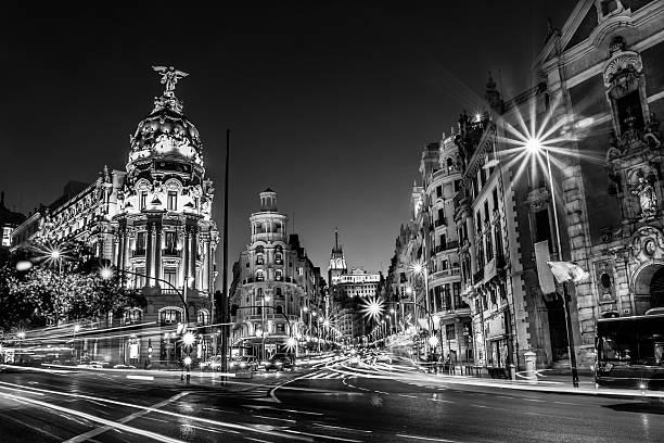 Gran Via in Madrid, Spain, Europe. stock photo