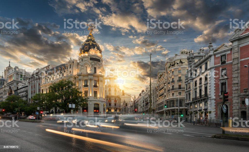 Gran Via shopping street in Madrid, Spain stock photo