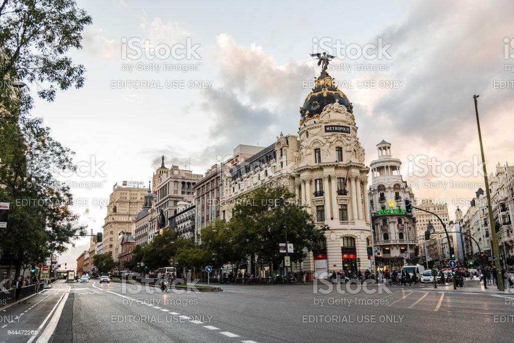 Gran Via street and Metropolis Building in Madrid stock photo