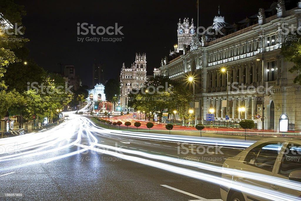 그란 통해 street 스페인 마드리드 야간에만 royalty-free 스톡 사진