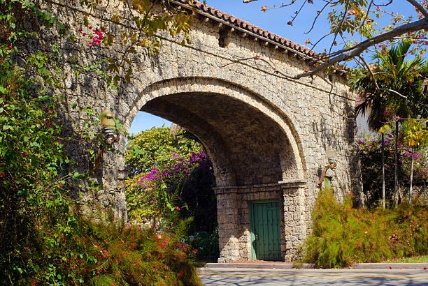 Granada Entrance in Coral Gables, FL stock photo