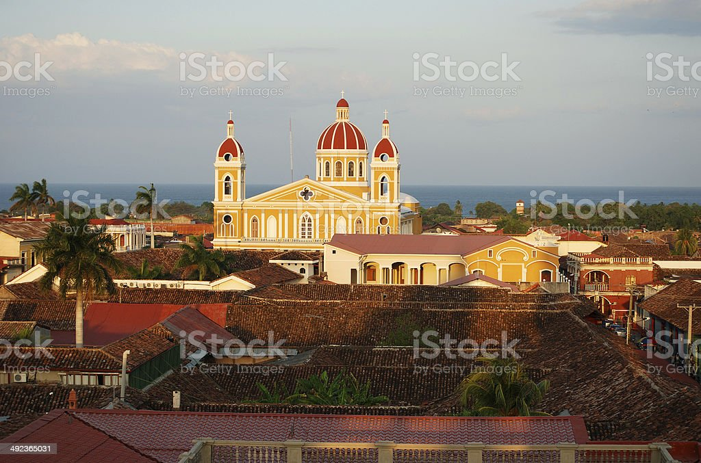 Granada, Nicaragua Cathedral on the Lake stock photo