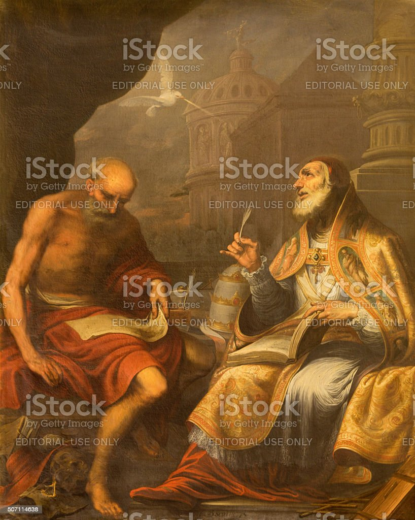 Granada - paint of St. Jerome and saint Pope Gregory stock photo