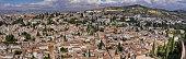 Huge panoramic view of Granada, Spain from The Alhambra. Mirador de San Nicolas at the bottom.