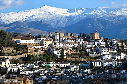 View of Granada Spain with the sierra nevada in the background