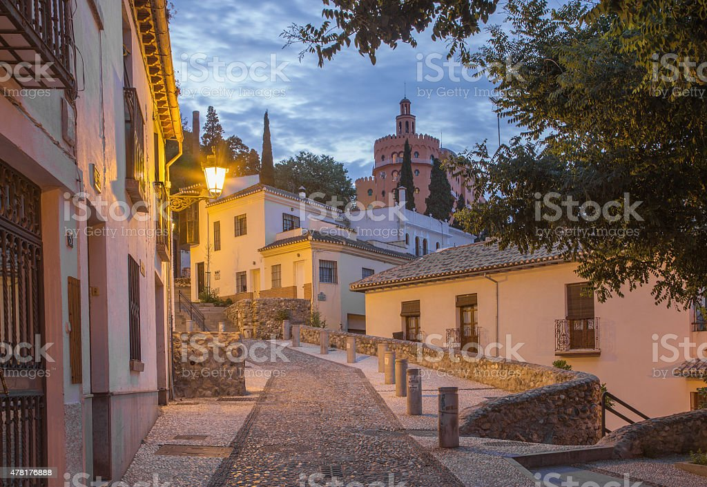 Granada - The ascent to Alhambra palace in morning stock photo