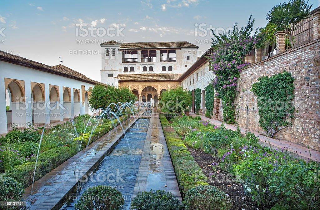 Granada - The gardnes and Generalife palace stock photo