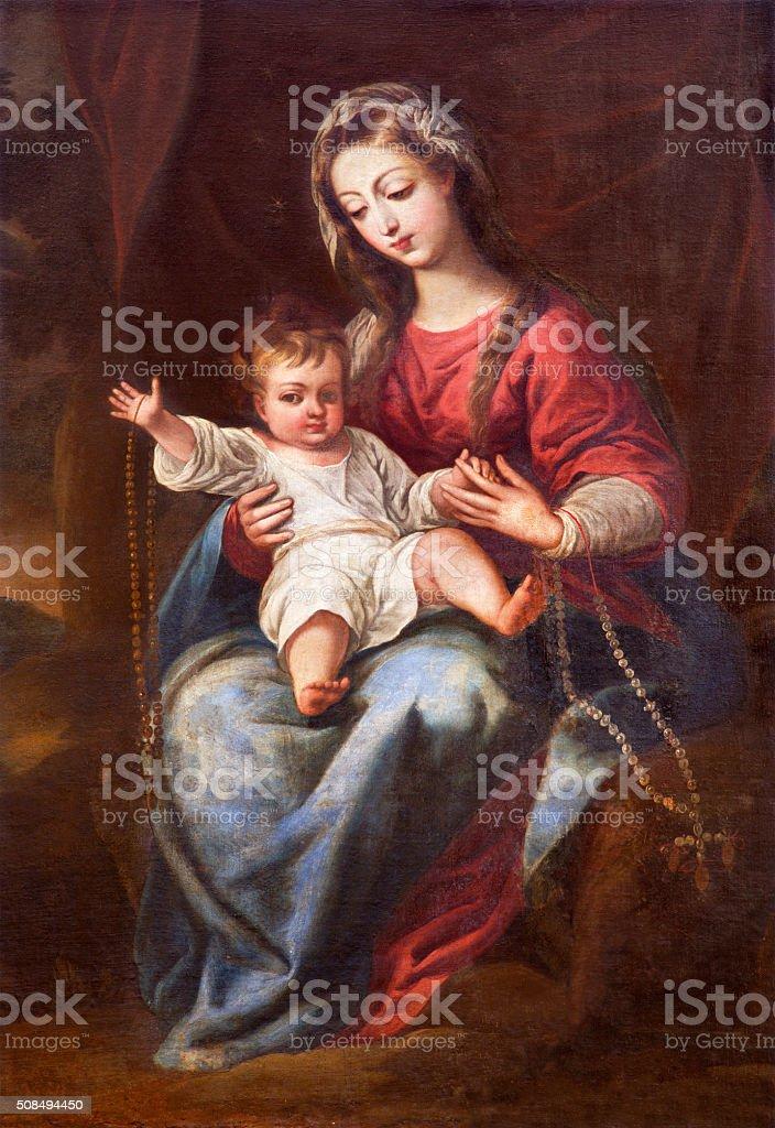 Granada - The Madonna (The Virgin of the Rosary) stock photo