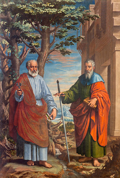 granada - the painting of st. paul and peter - peter the apostle stock photos and pictures