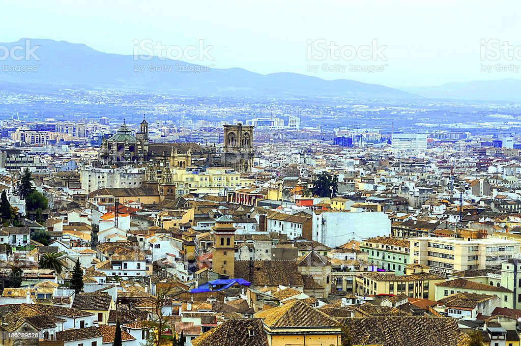 Granada with cathedral stock photo