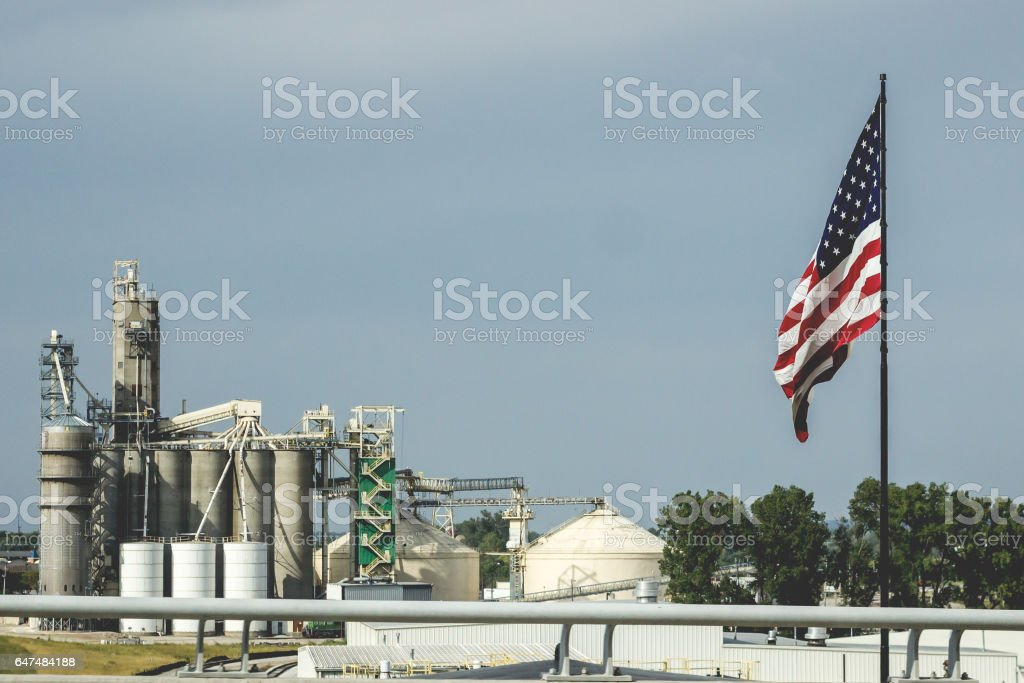 Granary and American Flag stock photo