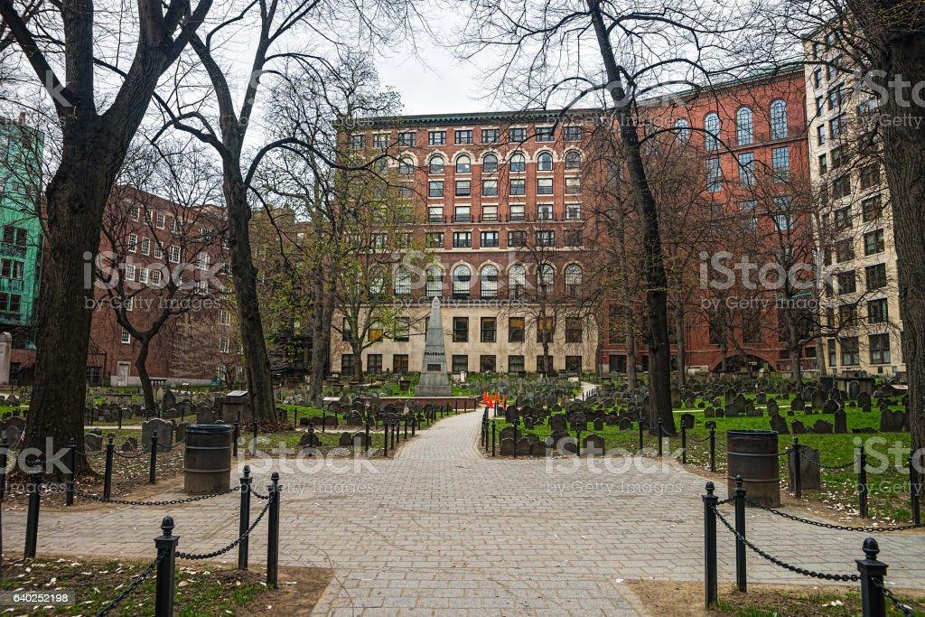Granary Burying Ground in Tremont Street in Boston - foto de acervo