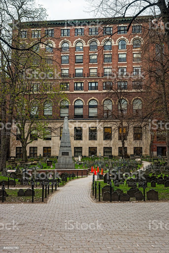 Granary Burying Ground in Tremont Street of Boston - foto de acervo