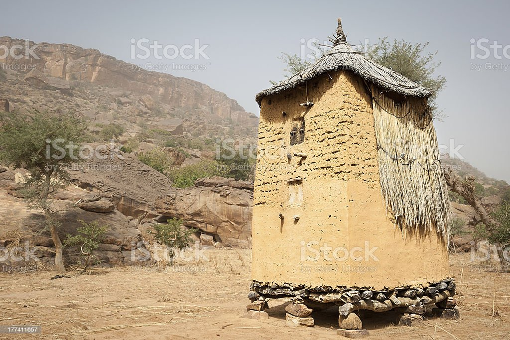 Granary in a Dogon village, Mali, Africa. stock photo
