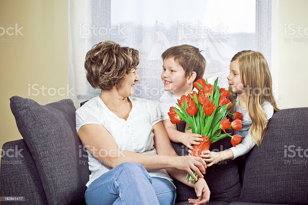 Granchildren giving flower to grandmother royalty-free stock photo