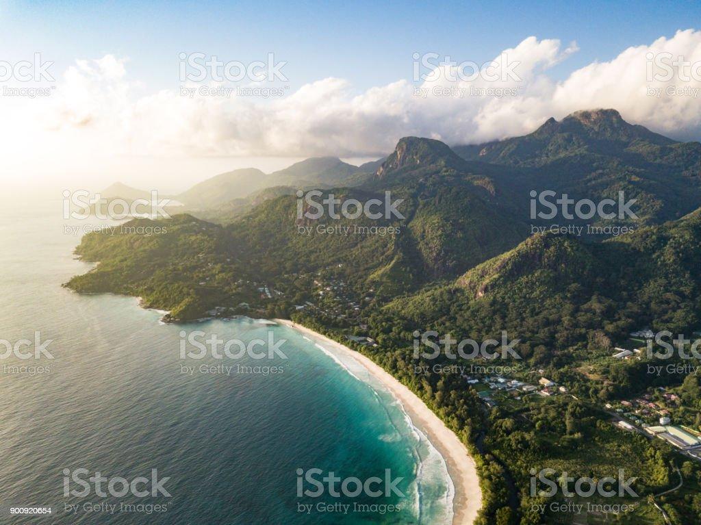 Grand Anse Mahe Island Seychelles Beach Coastline - Royalty-free Aerial View Stock Photo