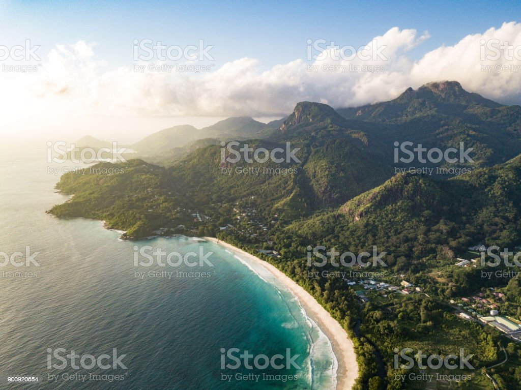 Grand Anse Mahe Island Seychelles Beach Coastline stock photo