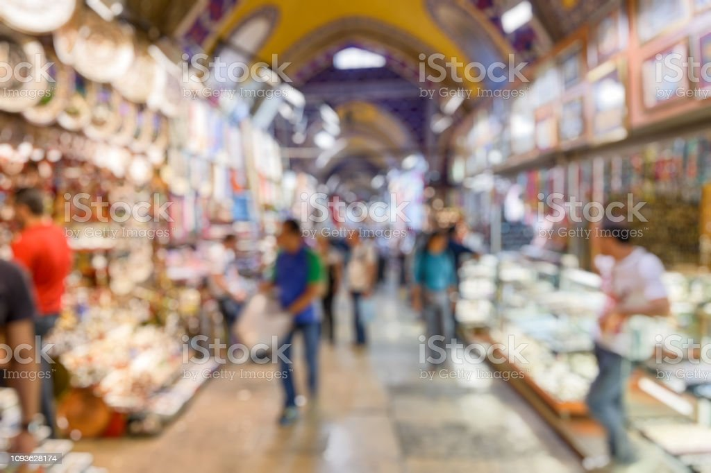 Grand Bazaar as creative abstract blur background, Istanbul, Turkey stock photo