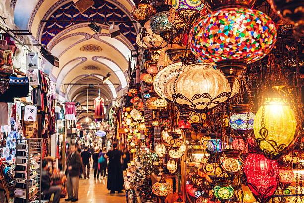 Grand Bazaar in Istanbul Turkish lanterns on the Grand Bazaar in Istanbul, Turkey turkey middle east stock pictures, royalty-free photos & images