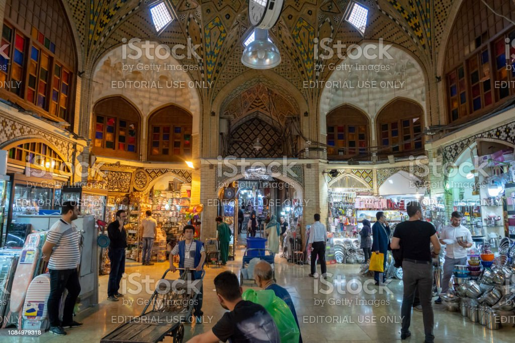 Grand Bazaar in Tehran city, Iran. stock photo