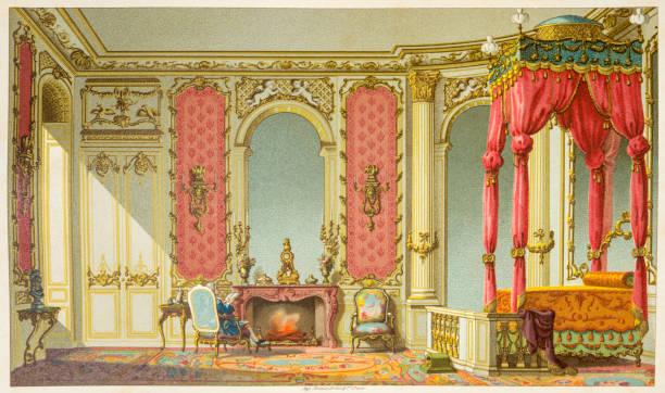 grote slaapkamer van 18e eeuwse frankrijk - 18e eeuw stockfoto's en -beelden