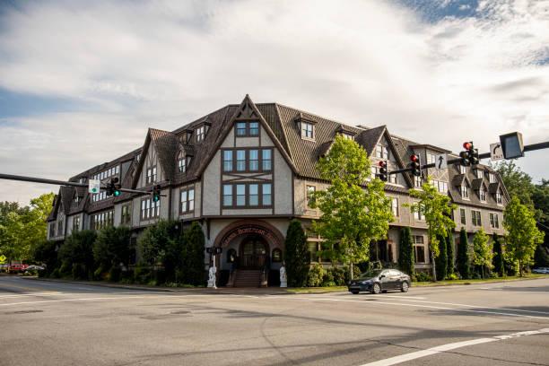 Grand Bohemian Hotel in Biltmore Village, Asheville, NC stock photo