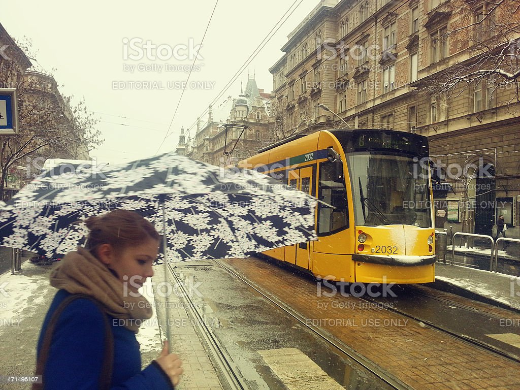 Grand Boulevard of Budapest in the winter royalty-free stock photo