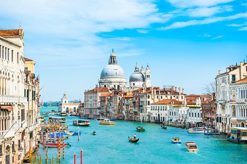 Grand Canal and Basilica Santa Maria della Salute in Venice, Italy. Famous tourist destination