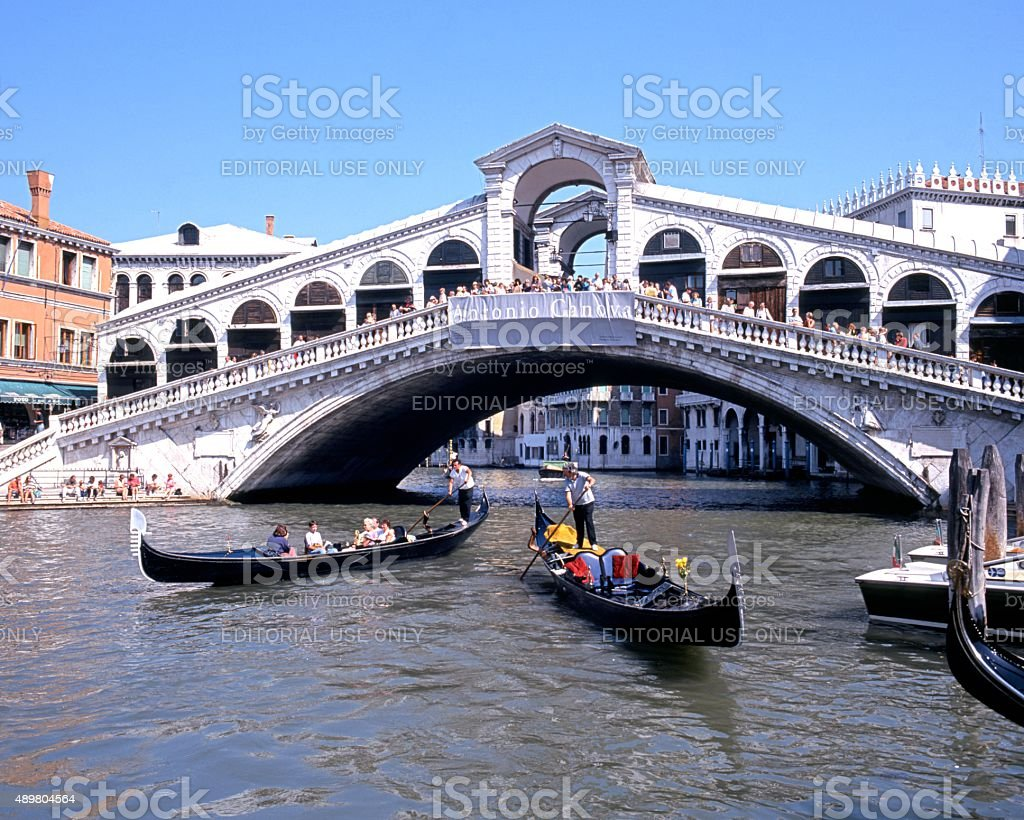 Grand Canal and Rialto Bridge, Venice. stock photo