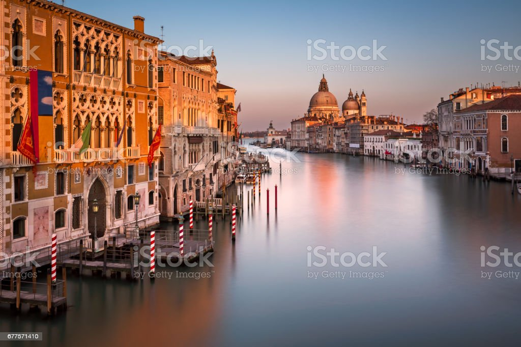 Grand Canal and Santa Maria della Salute Church from Accademia Bridge Venice, Italy royalty-free stock photo