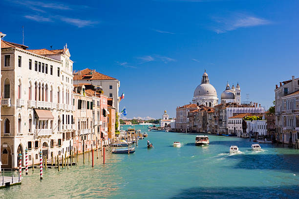 grand canal and santa maria della salute church venice italy - della stock pictures, royalty-free photos & images